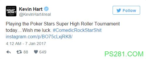 【6upoker】著名喜剧演员Kevin Hart参加巴哈马0,000买入扑克赛事
