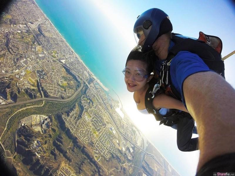 【6upoker】工程师正妹Jin跳伞当空中飞人 霸气外露照吸睛