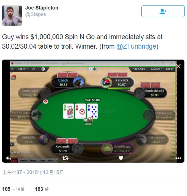 【6upoker】在微注额带100万美元上桌是什么感觉?:)