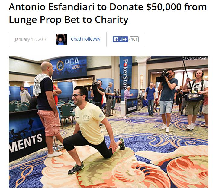【6upoker】Antonio Esfandiari决定将他打赌赢来的5万美元捐赠给慈善组织