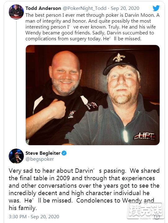 【6upoker】前WSOP主赛事亚军Darvin Moon去世,享年56岁