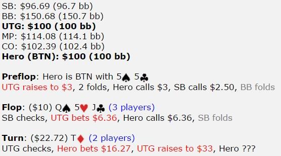 【6upoker】[牌局讨论]55,翻牌圈击中最小暗三条,转牌圈被c-r,怎么打?
