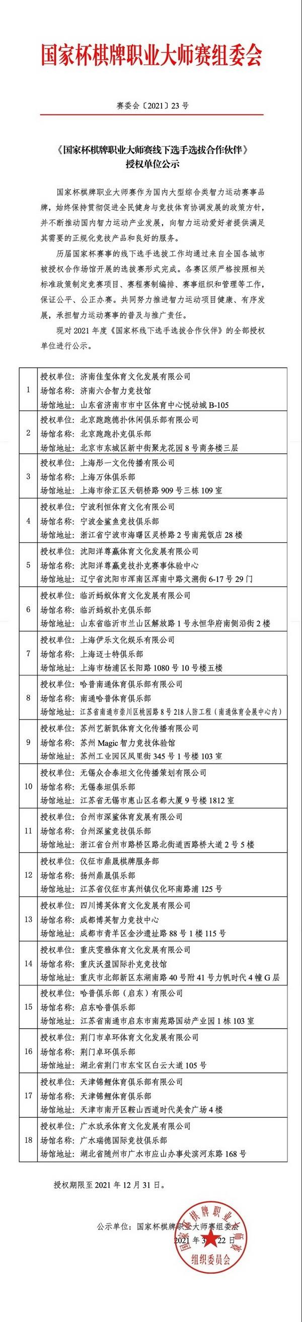【6upoker】《国家杯棋牌职业大师赛线下选手选拔合作伙伴》授权单位公示